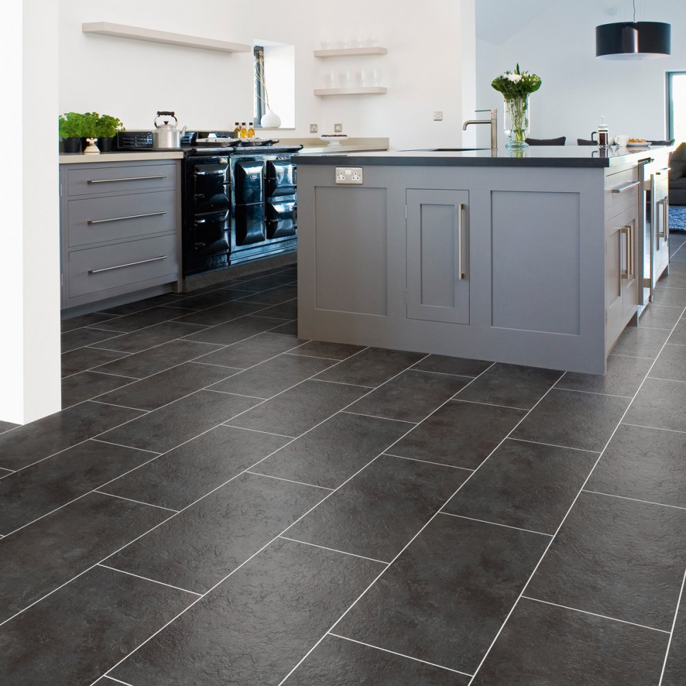 Gray Slate Kitchen Floor: Luxury Vinyl Tiles From DMS Flooring Supplies UK