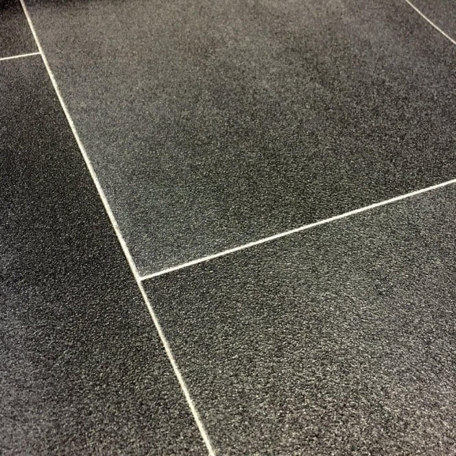 Motif Vinyl Flooring Black Tile