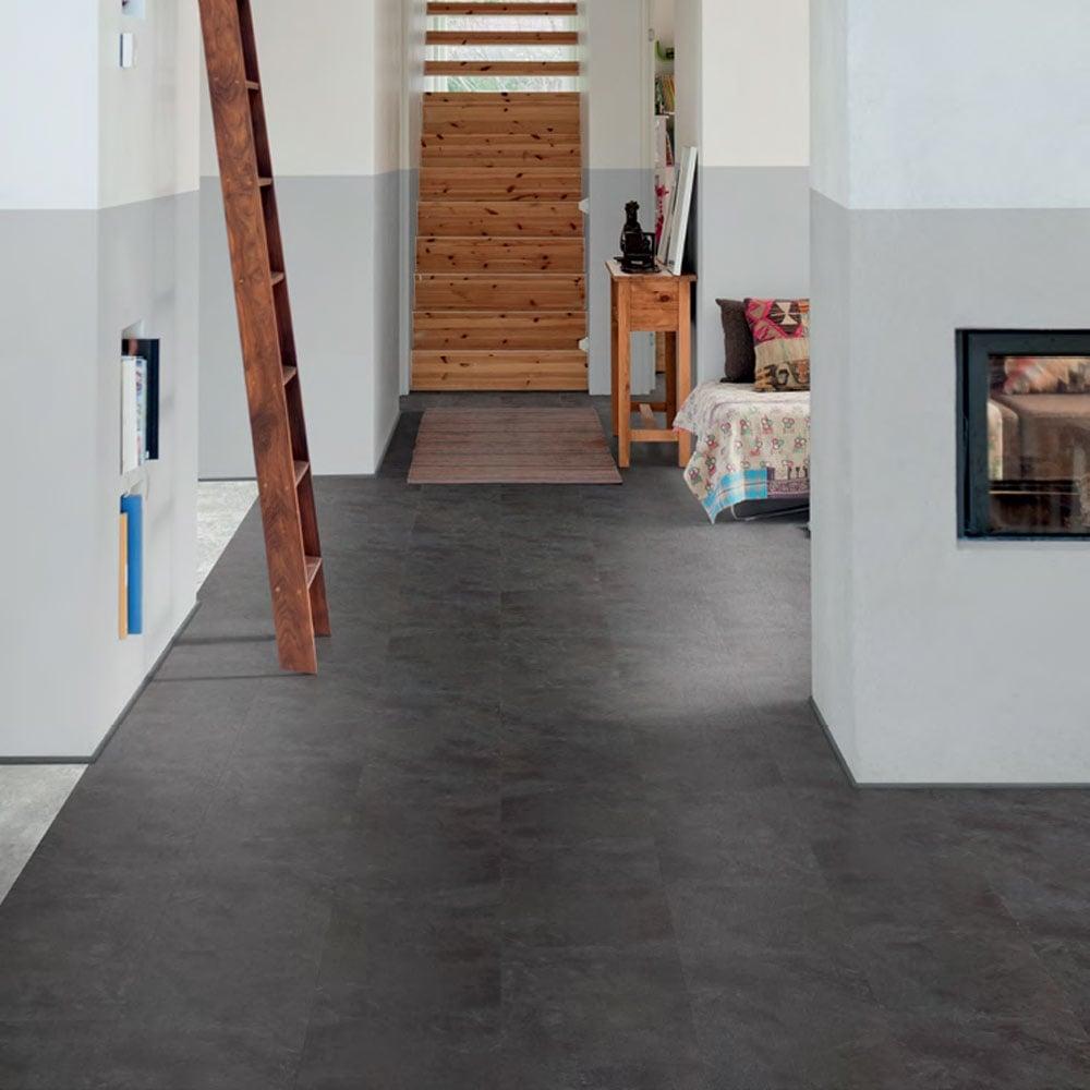 Polyflor Camaro Loc Click Fit Vinyl Tiles Black Shadow Slate 3453